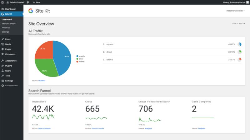 Site Kit plugin dashboard